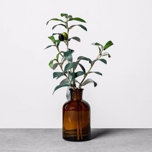 """Hearth & Hand 10"""" faux olive branch amber vase"""